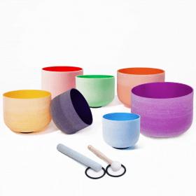 set bol en cristal coloré