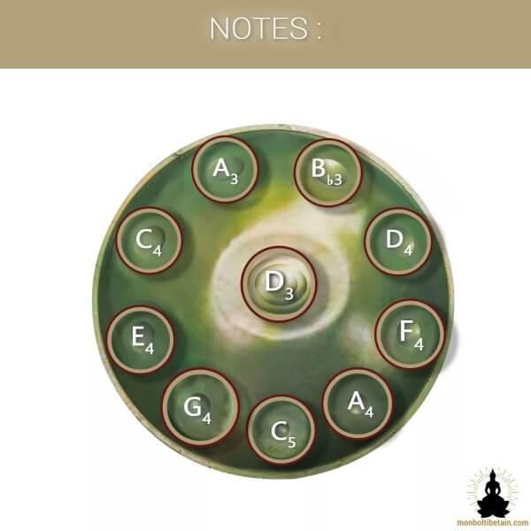 handpan 10 notes vert-de-gris monboltibetain
